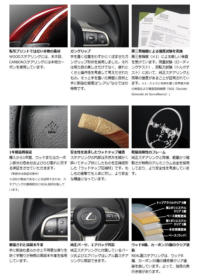 レクサス LX専用 REAL ステアリング(ブラックカーボン&ホワイトレザー)