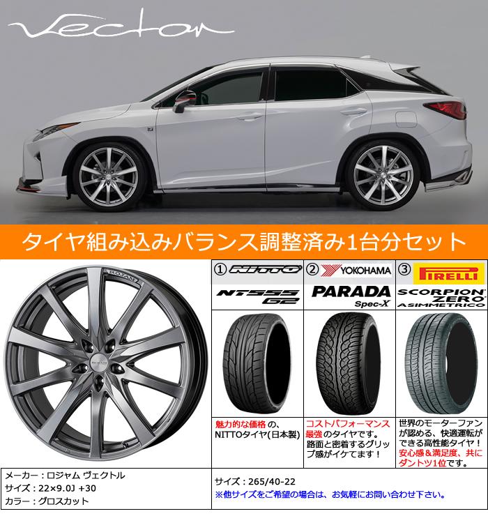 レクサス RX用 ホイール&タイヤセット(ロジャム ヴェクトル・22インチ)