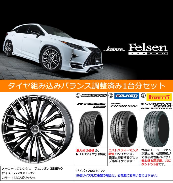レクサス RX用 ホイール&タイヤセット(クレンツェ フェルゼン 358EVO・22インチ)