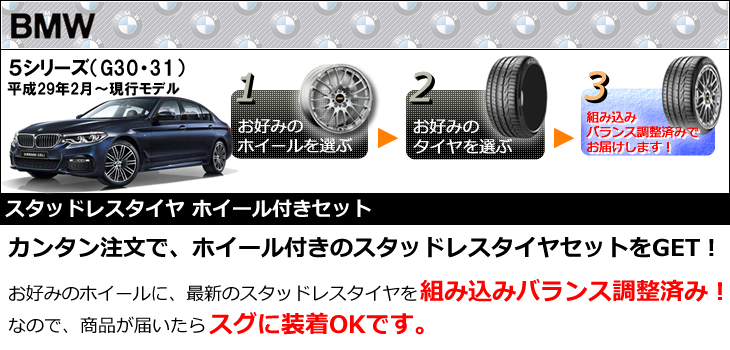 BMW 5シリーズ用スタッドレスタイヤ ホイール付きセット